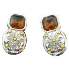 Vintage Joan Rivers earrings Topaz silver gold