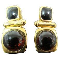 Vintage Joan Rivers Gold tone and brown earrings