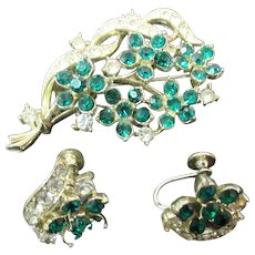 Lisner Green Rhinestone flower pin and earring set