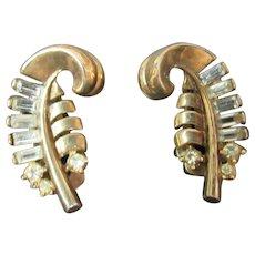 Crown Trifari feather/ leaf earrings