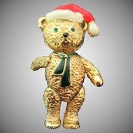 Cute vintage articulated Christmas Teddy bear pin or Pendant