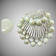 Trifari Shell design brooch with gray blue pearls