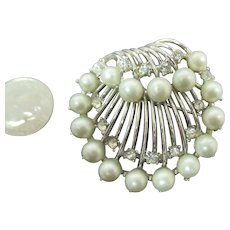 Trifari Shell design brooch with gray blue pearls