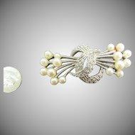 Trifari double pearl spray brooch