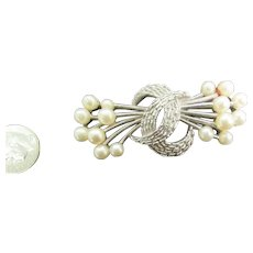 Trifari double pearl spray brooch