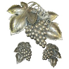 Very Large Napier Pin and earring set Grapes