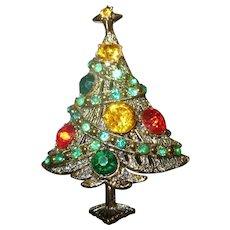 Beautiful Hollycraft Rhinestone Ribbon Christmas tree brooch Book piece