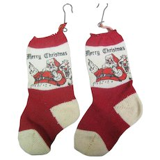 1940's- 50's Christmas Stocking cotton knit for Holding Money or Candy , Says Merry Christmas
