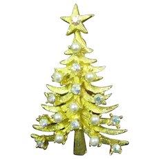 Mylu Christmas tree pin Pearl and AB rhinestones