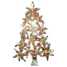 Tancer II Christmas tree pin Flowers and rhinestones Book Piece