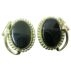 Whiting & Davis Gold tone and Black earrings
