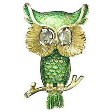 Beautiful Green OWL Brooch