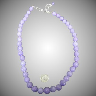 Lavender Jade carved bead necklace with sterling clasp