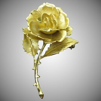 Monet Rose pin in gold tone metal just lovely