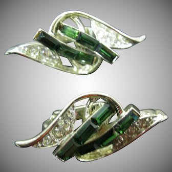 Kramer Kelly green and clear rhinestone earrings