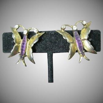 Sterling silver butterfly earrings with purple body