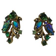Schiaparelli Earrings in glorious green rhinestones