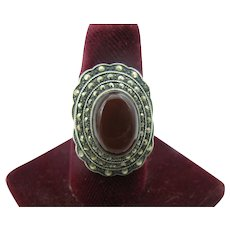 Sterling Silver ring with Carnelian and marchsite