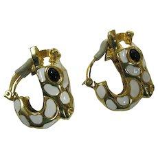 Ciner Enameled Giraffe earrings