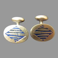 14K Gold and blue enameled Cuff links
