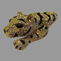 Ciner Large 3 Dimensional Leopard  Rhinestones and black enamel