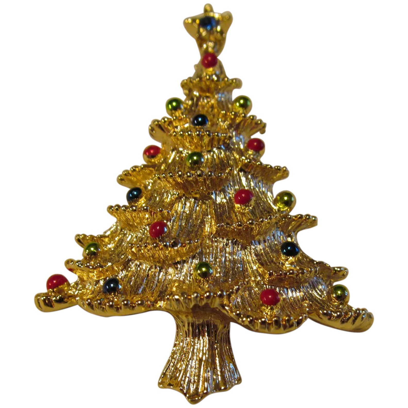 Christmas Brooches And Pins.Gerry S Christmas Tree Pin In Gold Tone