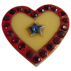 Vintage Celluloid Son in Military Heart pin