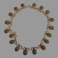 Vintage Theador Fahrner Necklace Gilt sterling silver Filigree