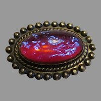Victorian Dragons Breath Opal pin set in sterling