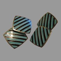Mid-Century double panel blue and black cuff links sterling