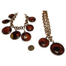 Faux Tortoise shell plastic disc dangle Necklace and bracelet set