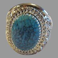 Huge Whiting & Davis large faux turquoise silver tone gate bracelet