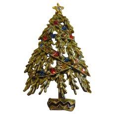 Signed ART Christmas tree pin with draping rhinestones