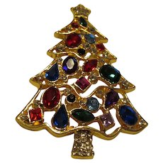 Rhinestone Christmas tree pin fantastic colors