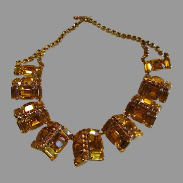 Wonderful Citrine yellow all rhinestone necklace