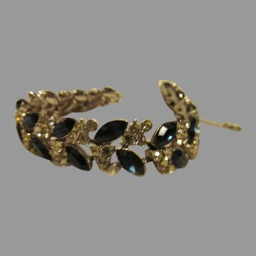 Stunning over the Top Crown Trifari Bracelet in blue and clear Rhinestones