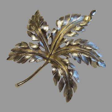Lovey Trifari leaf pin in silver tone