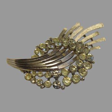 Trifari comet brooch with clear rhinestones