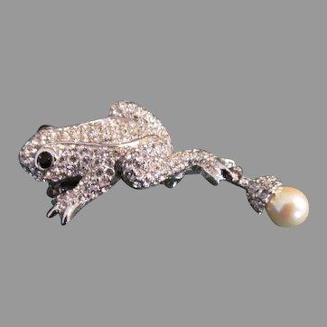 Lovely CINER Pave set Frog brooch