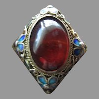 Beautiful Chinese Export Silver and enameled Ring