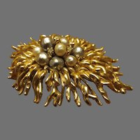 Panetta Large branch and pearl brooch