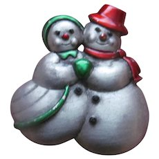 Adorable Mr and Mrs Snowman pin by J.J
