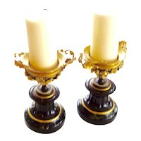 19th c. urns candle stand Marble,Bronze