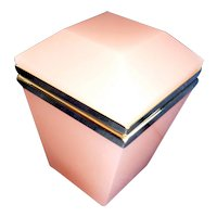 Peachy pink Opaline glass box  brass mounts