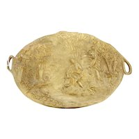 Large 19th c. Gilded Bronze Charger center bowl