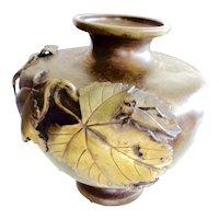 Meiji Period Bronze vase w/ applied leaves and grasshopper