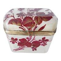 Opaline glass box Art Nouveau enameled flower design
