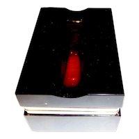 Opaline glass black w red inset