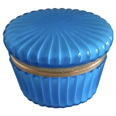 Opaline Glass box, bright blue cased to white interior