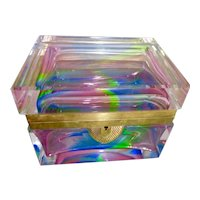 Rainbow colored opaline glass box